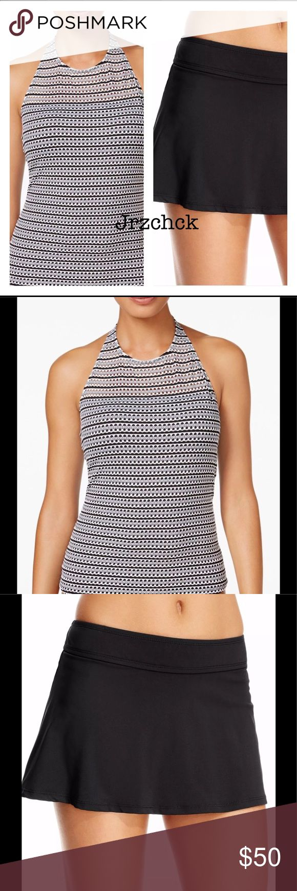 NWT Anne Cole Halter Skirt Tankini Swim Set 2 PC Higher neckline. Hooks at neck. Fully lined. Built in shelf bra with removable soft pads. Skirted bottoms.   Black and white.  Brand new with tags. Anne Cole Swim Bikinis