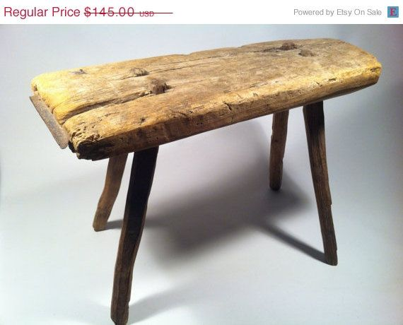 ON SALE Antique Primitive Wooden Cobblers Work Stool With 4 Sturdy Peg Legs  Via Etsy