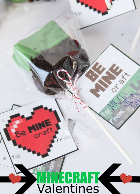 Minecraft Valentines (with Free Printables) -- so fun and easy for a Minecraft fan!!  My son loved them.