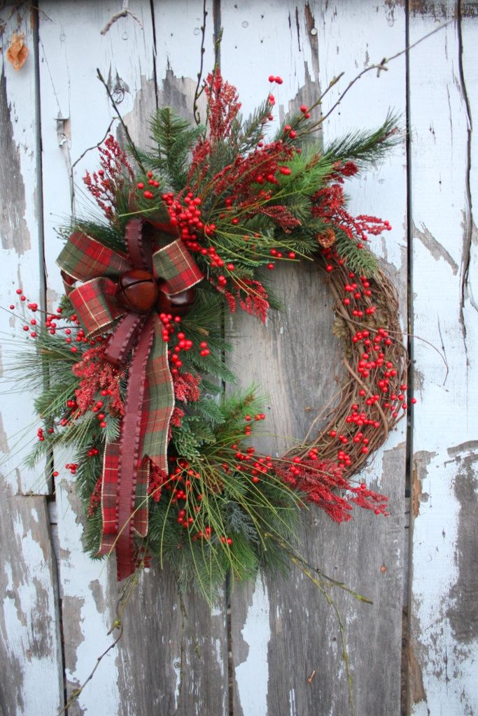 Winter Wreath, Red berries, Pine, Plaid, Metal Ribbon, Jingle Bells.