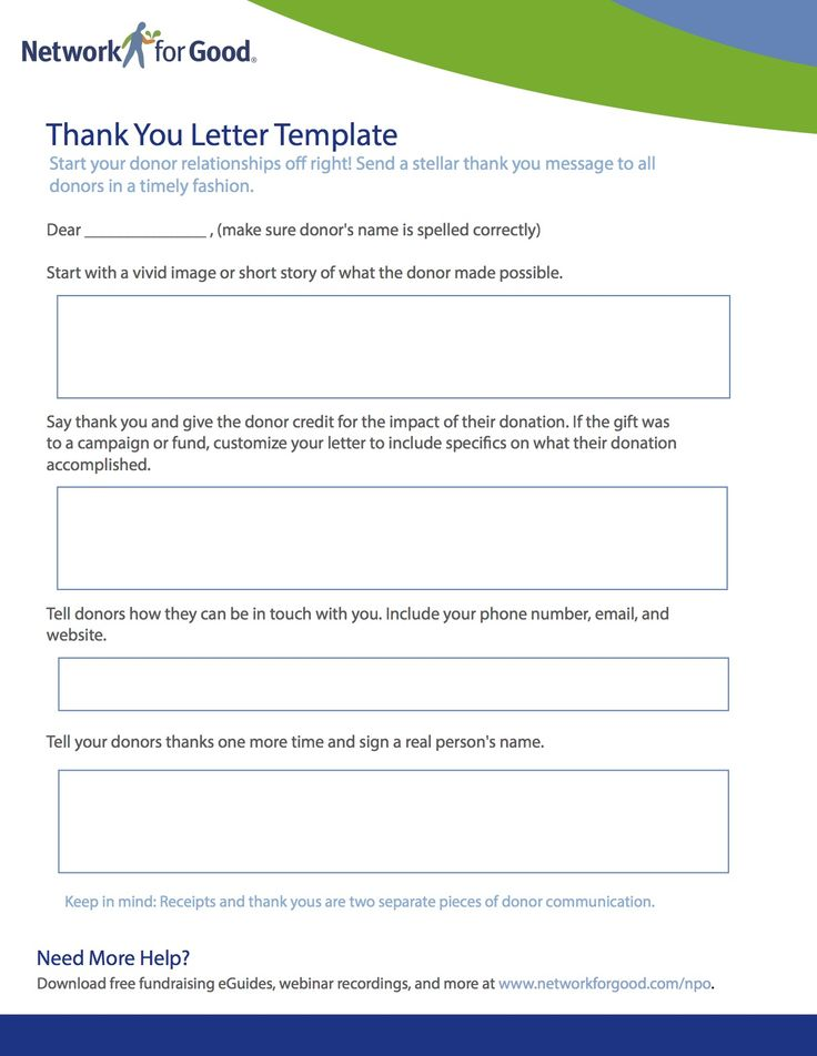 Thank You Letter Template  Networkforgood  Nonprofit