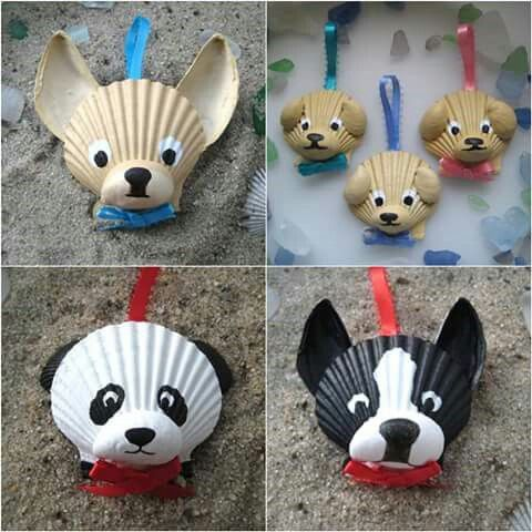 DOG ORNAMENTS MADE FROM SEA SHELLS.