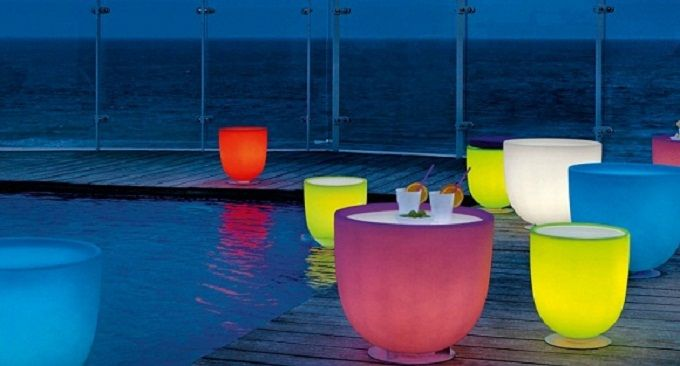 Contemporary Outdoor Lighting Fixtures for Outdoor Living Plan: Colourful Mug Table Lighting Swimming Pool Wooden Deck Contemporary Outdoor Lighting Fixtures ~ dickoatts.com Contemporary Home Designs Inspiration
