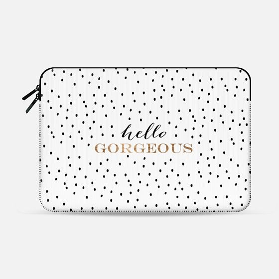 Modern trendy Hello Gorgeous quote typography gold and black handdrawn polka dots pattern by Girly Trend - Macbook Sleeve