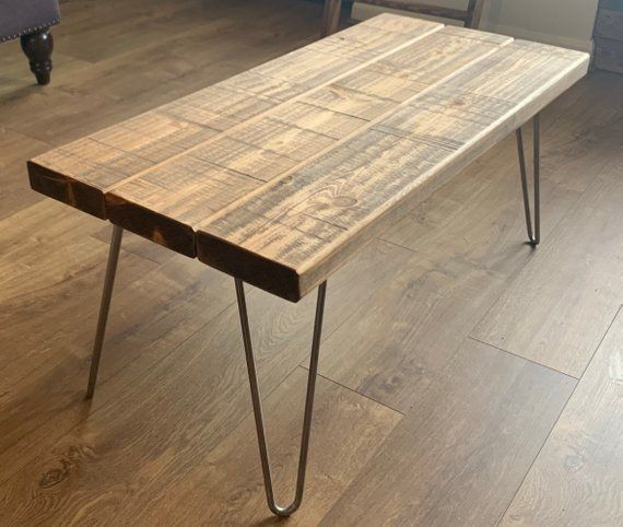 Rustic Plank Coffee Table Solid Wood With Industrial Metal Hairpin Legs Chunky Handmade B Solid Wood Coffee Table Solid Coffee Table Rustic Coffee Tables