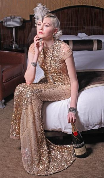 Great Gatsby look // Reem Acra dress // Headpiece by Selima Hats // Earrings, necklace, and bracelets at rjgraziano.com // Moet & Chandon Imperial champagne