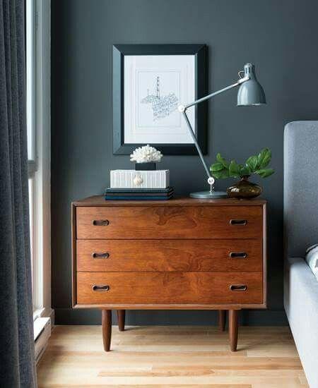 dresser, lamp, dark wall #Lamps