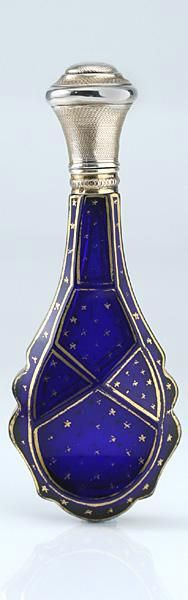French Cobalt Crystal Scent Perfume Bottle with Gilt Star Decoration, c.1870