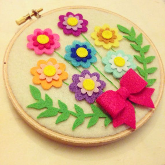 felt hoop art flowers - Google Search