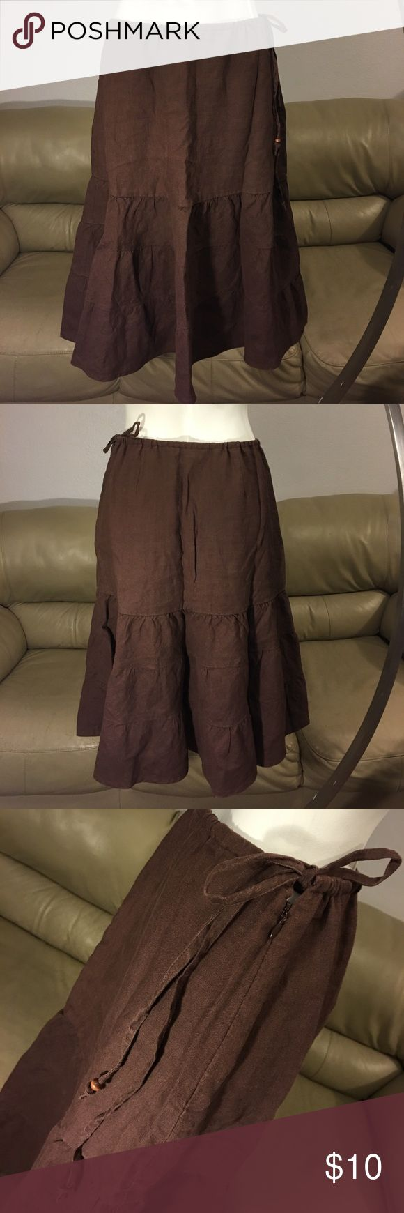 """Gap Brown Linen Skirt size 8 This is super cute! Euc! Waist measures approximately 33"""" but with draw string can be tightened! Length 27 1/2"""" GAP Skirts Midi"""