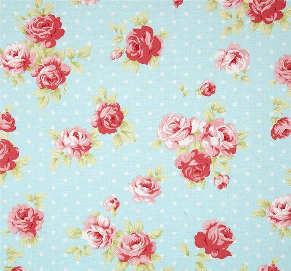 Polka Dot Shower Curtain, Shabby Chic Shower Curtain, Rose Print Bathroom Decor, Cottage Style Home Decor, Blue Floral Shower Curtain