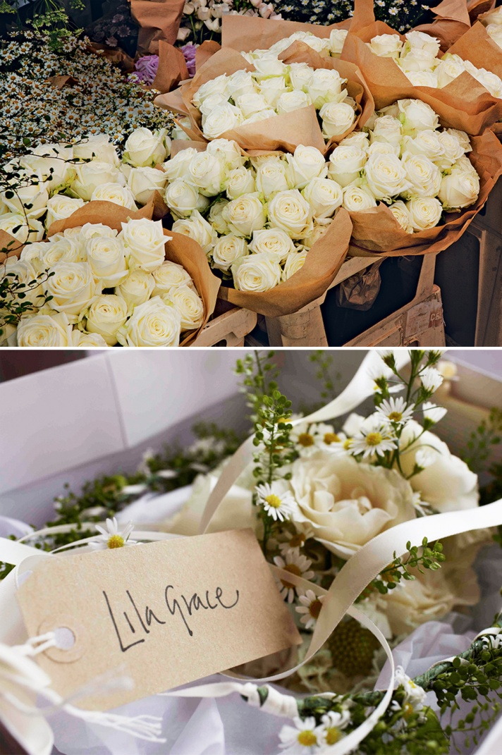 Ivory wedding flowers at Kate Moss' wedding