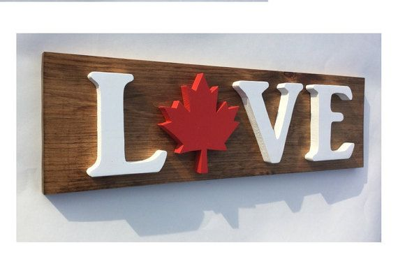 Canadian Wooden LOVE Sign in Solid Pine with 3D by Timberflag