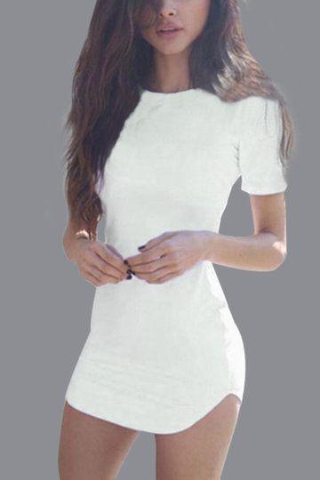 Сексуальный белый изогнутый край Bodycon Fit платье с короткими рукавами
