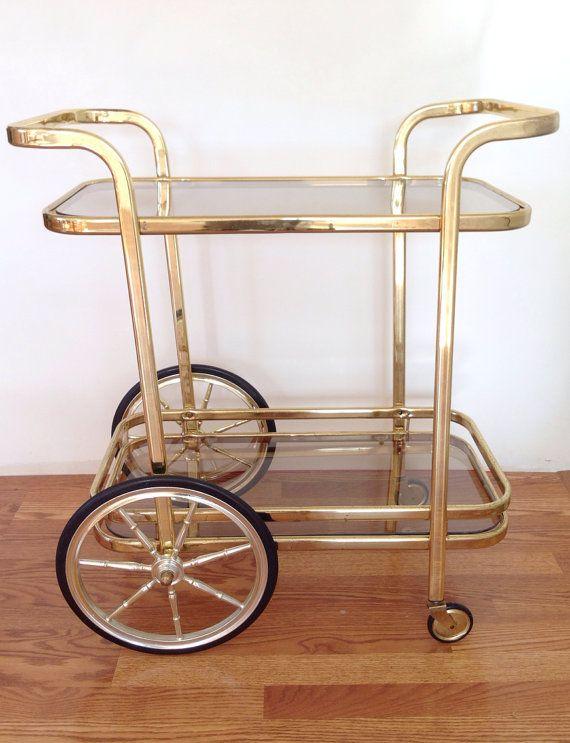 Bar cart, gold bar cart, hollywood regency style, Anthology House on etsy
