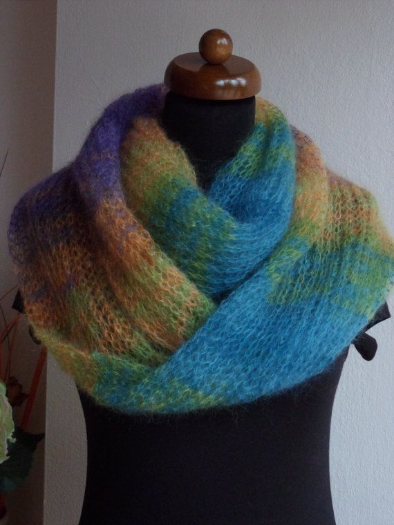 ♧♪ Circle infinity scarf, Loop scarf, Silk and #mohair scarf, turquoise -... Exclusive! http://etsy.me/2hcheZE