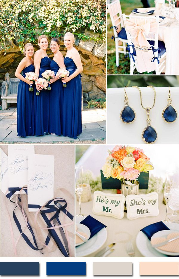 2015 trends navy blue and blush wedding color ideas #weddingcolors #elegantweddinginvites