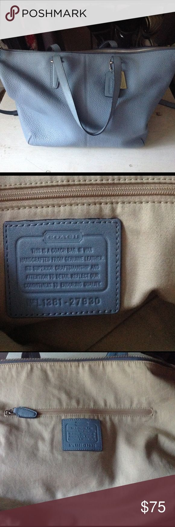 💯AUTHENTIC Coach Bleecker Satchel! I bought two on Poshmark and I like the smaller one better. This is a medium sized satchel in pebble leather. Has a hand carry strap and an adjustable cross body strap. Beautiful Light blue. Excellent condition. No flaws of any kind. See pics for authenticity. Only reasonable offers will be considered. Coach Bags Crossbody Bags