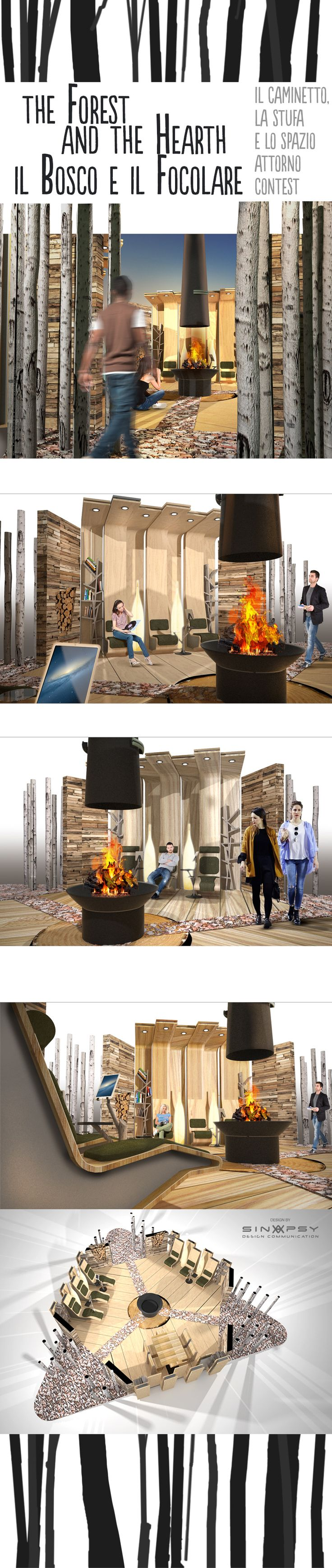 living space design around the hearth concept