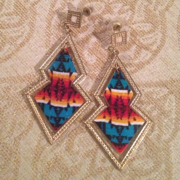 Earrings Aztec and gold Jewelry Earrings