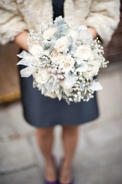 white and silver November wedding