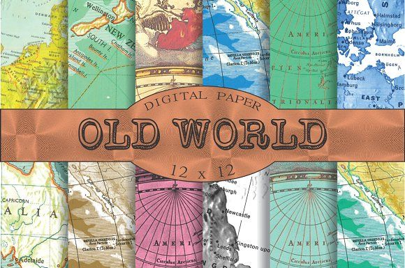 Vintage map patterns, 'Old world' by Kiwi Fruit Punch on @creativemarket