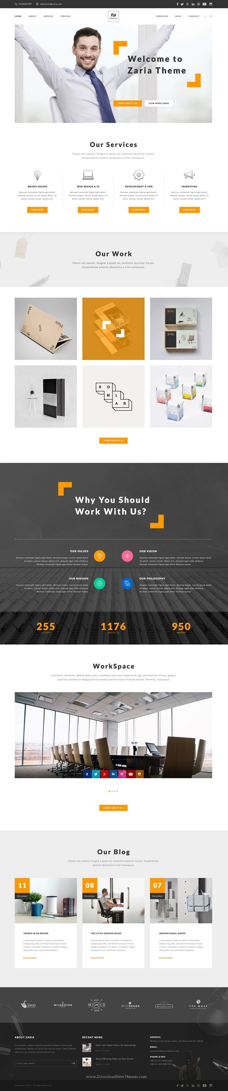 Zaria - A Beautiful & Smart Business PSD Template. A beautiful, smart and customer-oriented design idea for your website layout.