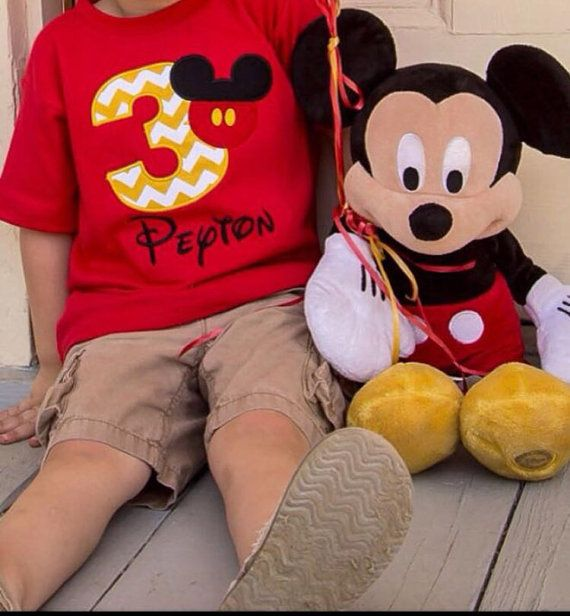 Mickey Mouse Birthday Shirt Personalized 1-9 Red by SWDdesigns
