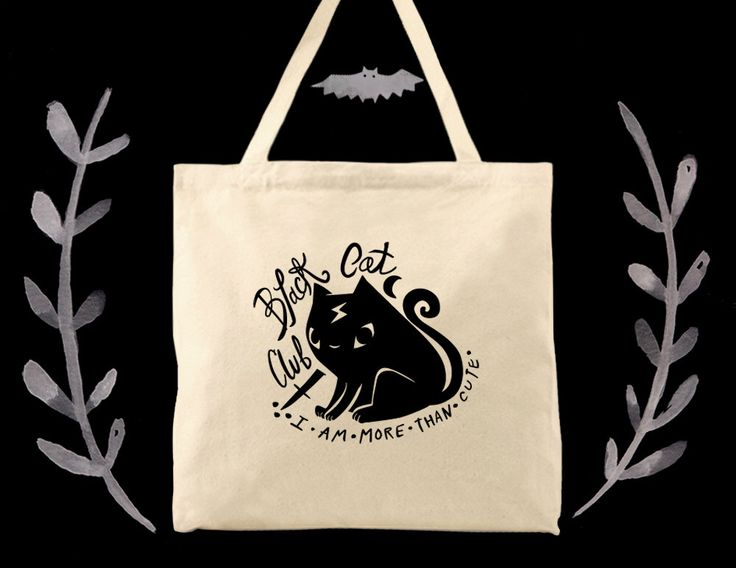 Black Cat Club witchy cotton canvas tote by bunnydee on Etsy https://www.etsy.com/listing/257719389/black-cat-club-witchy-cotton-canvas-tote