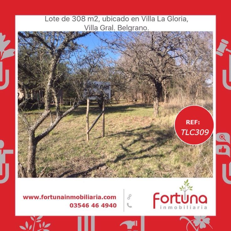 Lote ubicado en Villa La Gloria, Villa Gral. Belgrano.  Oportunidad.  #FortunaInmobiliaria  #HoldingFortuna