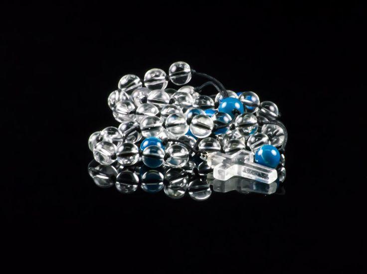 Quartz & Blue Agate Gemstone Handmade Prayer Rosary Necklace by TheBeadedGardencom on Etsy