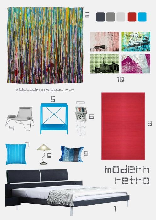 modern look with a bit of a retro twist bright colors against a modern modern teen bedroomsteen