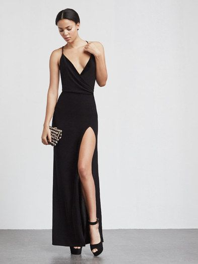 The Martini Dress is a slinky, stretch matte jersey black maxi dress with a plunging wrap neckline that drapes along the chest. High front slit, open back with criss cross straps.   This is part of the Reformation x 4th and Bleeker NYE collection. The perfect little black party dress -  https://www.thereformation.com/products/martini-dress-complex?utm_source=pinterest&utm_medium=organic&utm_campaign=PinterestOwnedPins