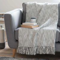 Jeté en coton gris 160 x 210 cm | Maisons du Monde