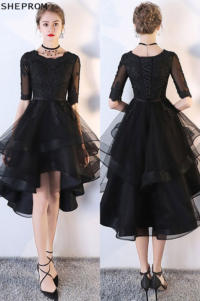 c42d9ceae Black Tulle Homecoming Prom Dress with Lace Sleeves  MXL86007 at SheProm.   SheProm is an online store with thousands of dresses