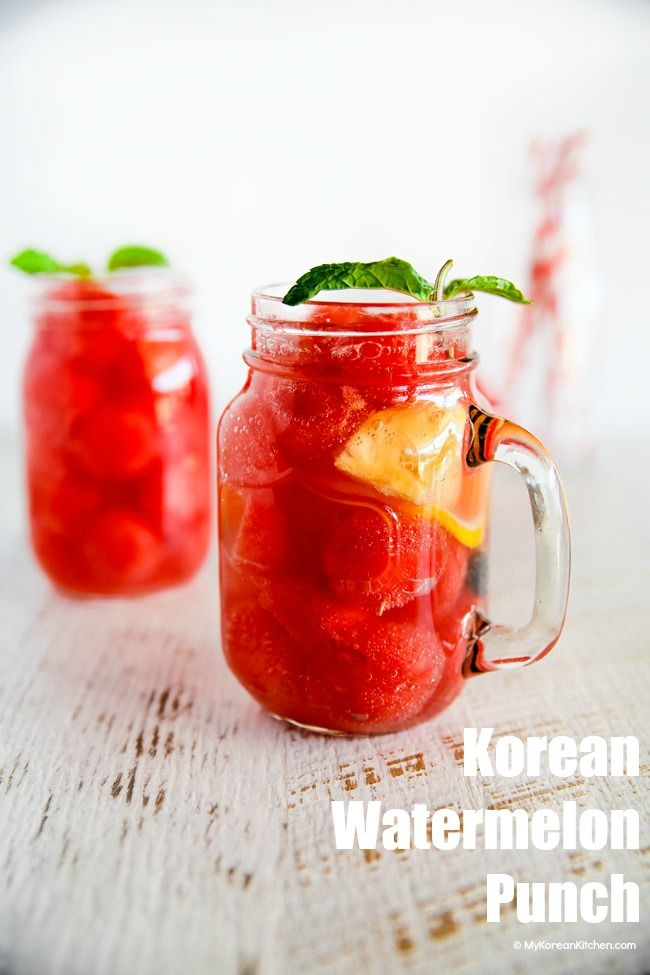 How to Make Korean Watermelon Punch. It's light, refreshing and will quench your thirst!   MyKoreanKitchen.com