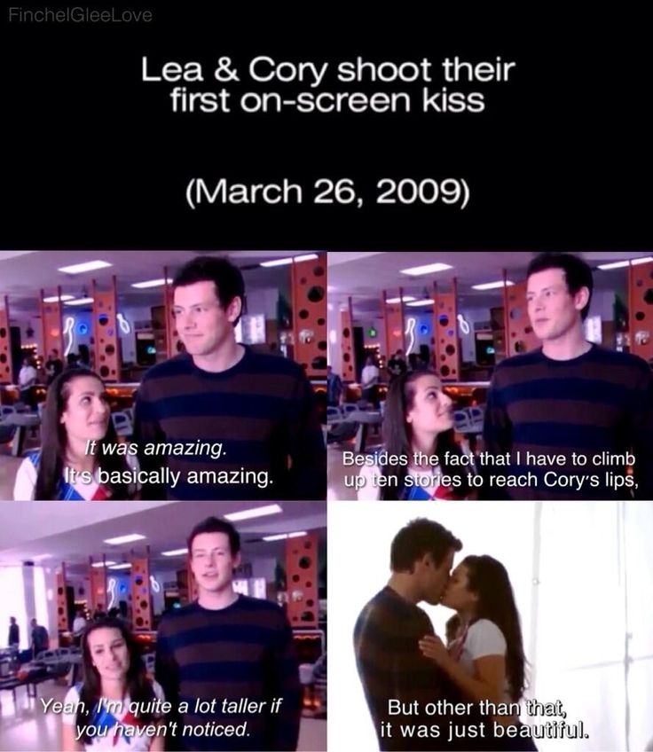 Lea and Cory shooting their first on-screen kiss :)