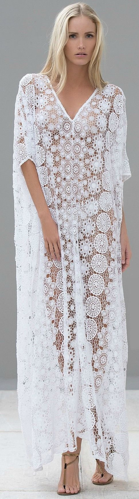 ALEXIS Spring 2014 - The Valerie Dress // Vintage bohemian 70's style crochet lace caftan V neck wedding dress design idea
