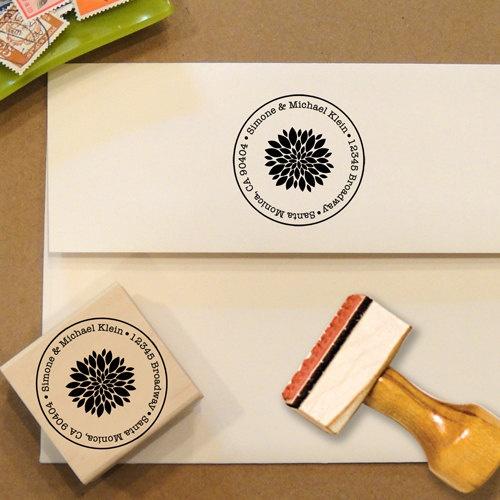 Custom Address Stamp with a flower by Designkandy on Etsy, $28.00