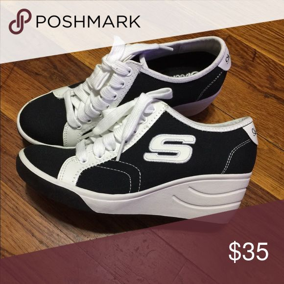 Skechers wedge sneakers Size 5.5 black and white wedge skechers sneakers Skechers Shoes Sneakers