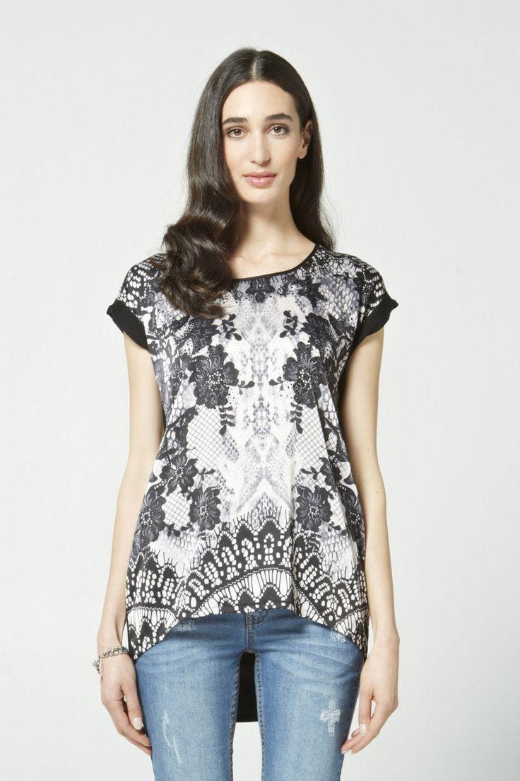 Lace Print Hi Lo Top $99
