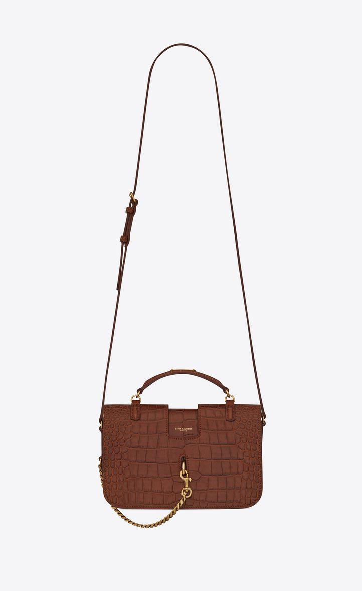 c17886e26567 Medium Charlotte Messenger Bag In Crocodile Embossed Matte Leather In  Cognac