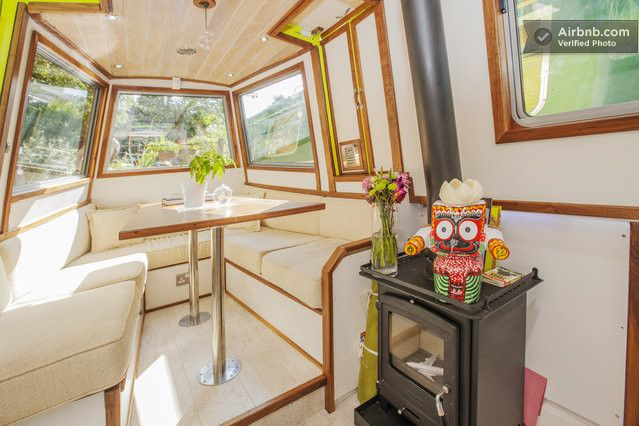 Gypsy Interior Design Dress My Wagon| Houseboat Design Inspiration-Sitting / Dining area which converts to a King-Size Bed ....see next ...