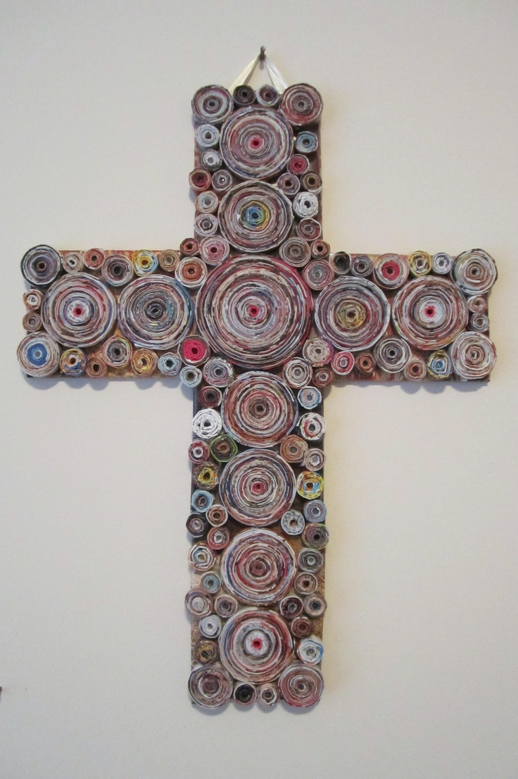 35 best images about rolled magazine art on pinterest for Cardboard crosses for crafts