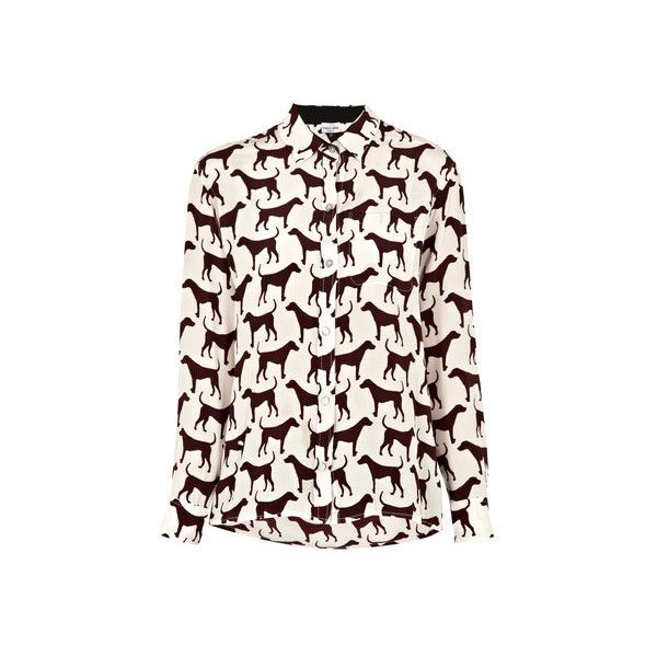 Mercy Delta Dog Print Blouse ($350) ❤ liked on Polyvore featuring tops, blouses, cream, collar top, pattern tops, dog print blouse, cream top and dog top