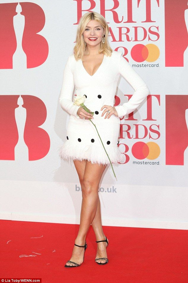 BRIT Awards 2018: Holly Willoughby rocks white minidress   Daily Mail Online
