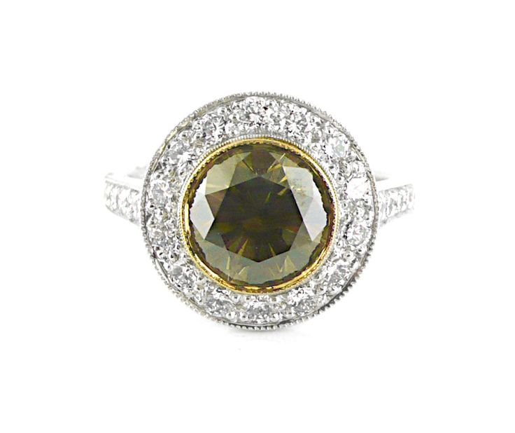 An 18ct White and Yellow Gold Diamond Ring with a Fancy Brown Diamond in the Center