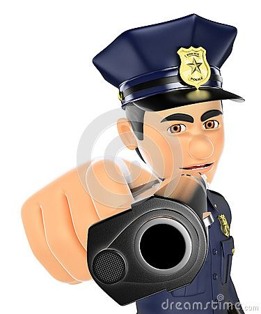 Cartoon Illustration about 3D Policeman pointing a gun in front