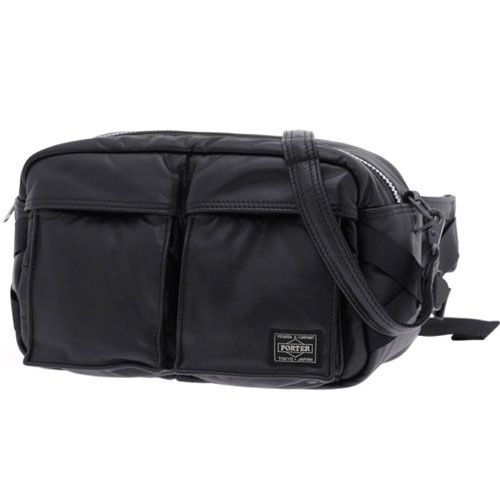 Porter Tanker Leather Waist Bag. Product No: 383-04895. Size: W270/H170/D130. Outside: Cow steerhide leather (chrome tanned)/Inside: Nylon taffeta. Available in Black, Brown.