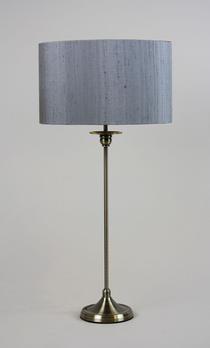 Handmade 30cm Drum - Slub silk 'Grey', Premium Copper inner. Stem lable lamp base available from https://www.cotterellandco.com/stem-short-round-antique-brass-table-lamp-with-shade-options
